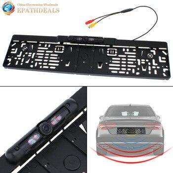 Auto Parktronic EU Marco de placa de coche cámara de visión trasera HD Visión Nocturna copia de seguridad trasera cámara con 4 IR luz