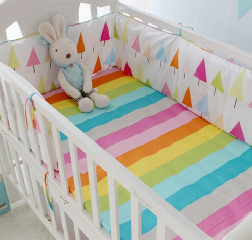 Promotion! 9PCS Full Set 100% cotton Baby bedding sets crib bedding set crib set 100% cotton,4bumper/sheet/pillow/duvet