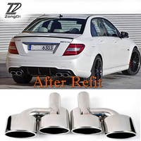 ZD 2pcs Car styling For Mercedes Benz W204 C class C63 C65 Chrome 304 Stainless Steel Car Exhaust Tips Muffler Pipe Accessories