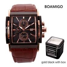 BOAMIGO Square Men zegarki kwarcowe duża tarcza Fashion Casual Sport Watch różowe złoto woda [dach Cock skórzane męskie casualowe zegarki na rękę