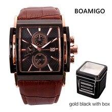 BOAMIGO כיכר גברים קוורץ שעונים גדול חיוג אופנה מקרית ספורט צפה רוז זהב מים [גג זין עור זכר מזדמן שעוני יד