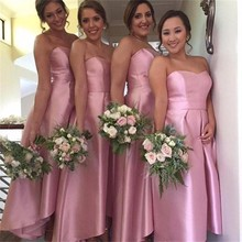 Rosa Brautjungfer Kleid 2016 Tee Länge Einfache Frauen-partei-kleid Vestidos De Festa Satin Abschlussball-kleider Kleid Für Hochzeit gast