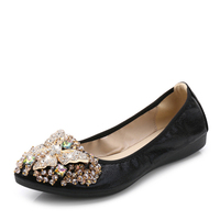 The Pleiades Women Crystal Ballet Flats Size 34 43 2017 Spring Solid Gold Bling Cloth Pointed