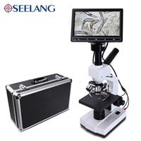 5MP HD Professional Mites Sperm biological Lab Digital Microscope Led + electronic eyepiece + 7 inch LCD screen USB Data line