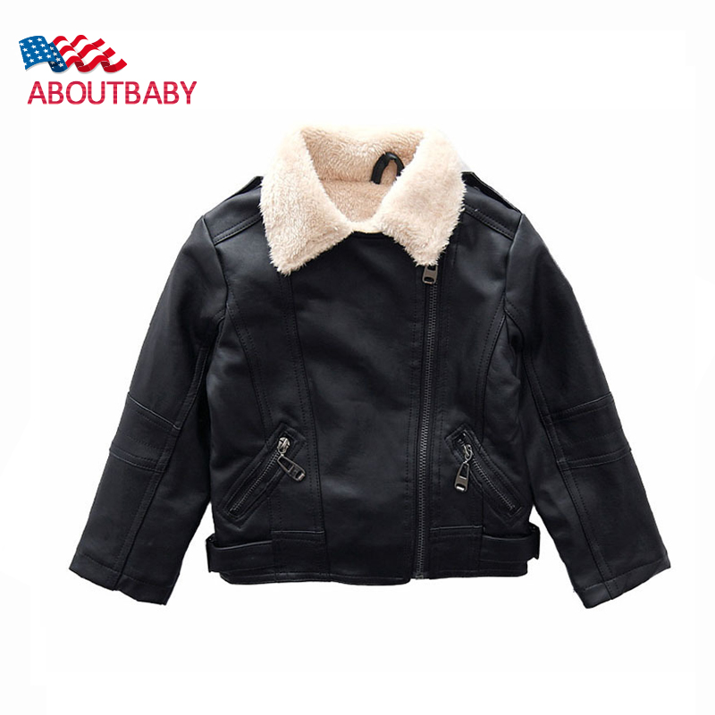 Girls Boys Leather Jacket Fashion Black Children PU Outerwear Winter Plus Velvet Warm Faux Leather Jackets Kids Coats 2016 New 2017 fashion teenager motorcycle coats boys leather jackets patchwork children outerwear letter printed boy faux leather jacket