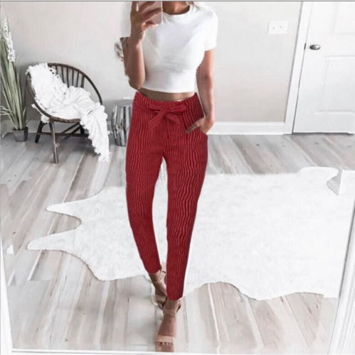 2019 Women Sexy arrival Striped Slim Skinny Casual High Waist Pencil Long Pants Trousers Flat Drawstring Bodycon Solid Pants 10