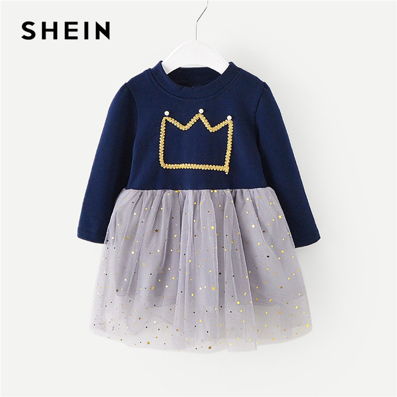 SHEIN Pearl Beaded Mesh Overlay Party Dress Toddler Girls Clothes 2019 Spring Korean Fashion Long Sleeve Cute Short Dress spring and autumn girl children cotton dress long sleeve flower print sweaters dresses fashion baby girl cute party dress