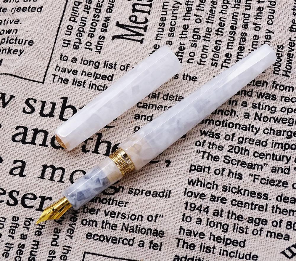 Fuliwen Marmo Celluloide Penna Stilografica Rombo Bella Fiore Bianco Puro, Oro Iridio Medio Nib per il regalo di Affari Ufficio Scuola