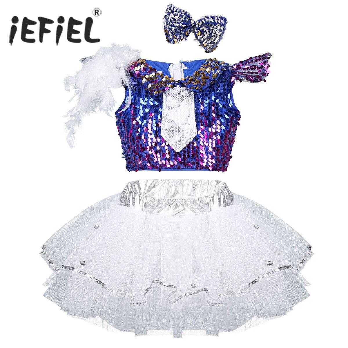 Kids Girls Modern Jazz Salsa Dancewear Shiny Sequins Dancing Skirts Feather Cap Sleeves Crop Top with Mesh Tutu Dress Hair Clip