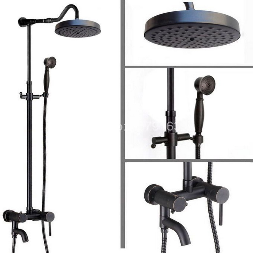 Bathroom Single Lever Handle Black Oil Rubbed Brass Wall Mounted Rain & Hand Shower & Tub Faucet Mixer Tap Set ars647
