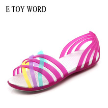 E TOY WORD jelly shoes 2019 New womens summer Flat Hole Shoes Ladies sandals Slip-On Beach plastic Candy Color