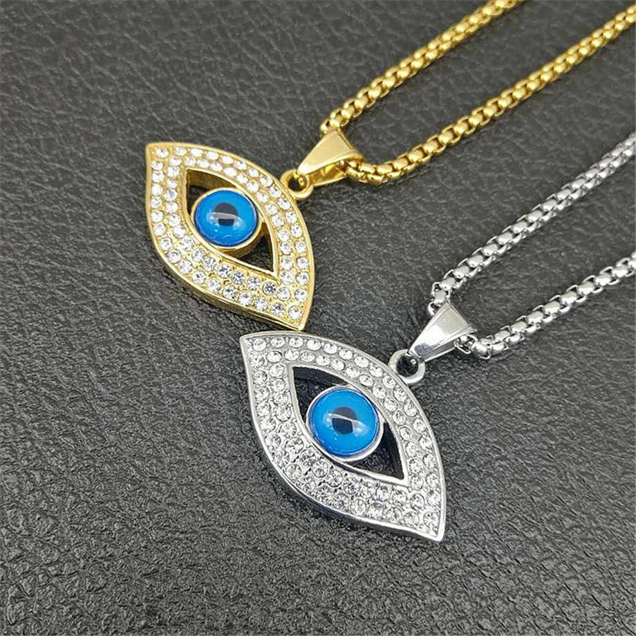 Turkish Eye Pendant With Stainless Steel Chain And Iced Out Bling Rhinestones Amulet Necklace Hip Hop Turkish Jewelry