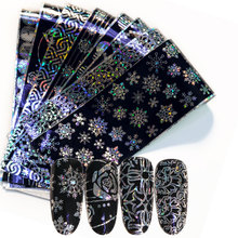 16pieces holographic starry Laser nails sheets transfer glue sticker boards mixed designs Nail Art decorations set
