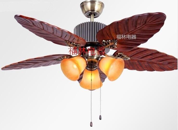 Antike Holz Retro Fan Deckenventilator Lampe Massivholz Wohnzimmer Ventilator Leuchtet Restaurant Lichter ZH FS1