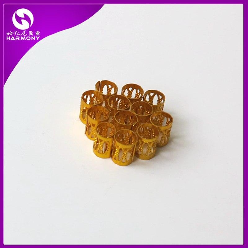 300pcs/lot Golden Colors Colorful Rings Havana Mambo Beads Box Braid Hair Braids Cuff Clip Dreadlock Beads Adjustable