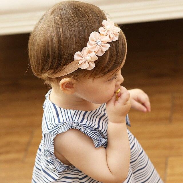 b619b2e033d0 New Fashion Baby Girls Headband Soft Yarn Flower Beads Princess Lace Elastic  Infant Headbands Kids Hair Accessories Girls Lace