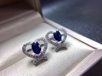 Love Heart Sapphire earring Free shipping Natural real sapphire 925 sterling silver Fine jewelry 4*6mm 2pcs
