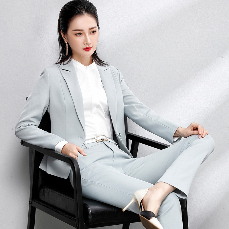High-quality two-piece suit casual wear OL Slim business woman suit long-sleeved uniforms bank hotel overalls suit