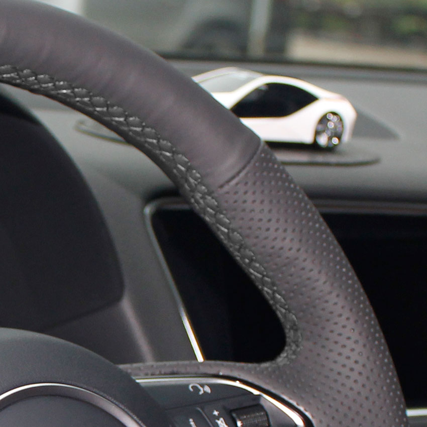 Yuji-Hong Чехлы рулевого колеса автомобиля чехол для VOLVO S80 S80L XC60 2010-2013 натуральная кожа Авто покрытие ручной работы автомобиля-Стайлинг - Название цвета: Black Thread Holes