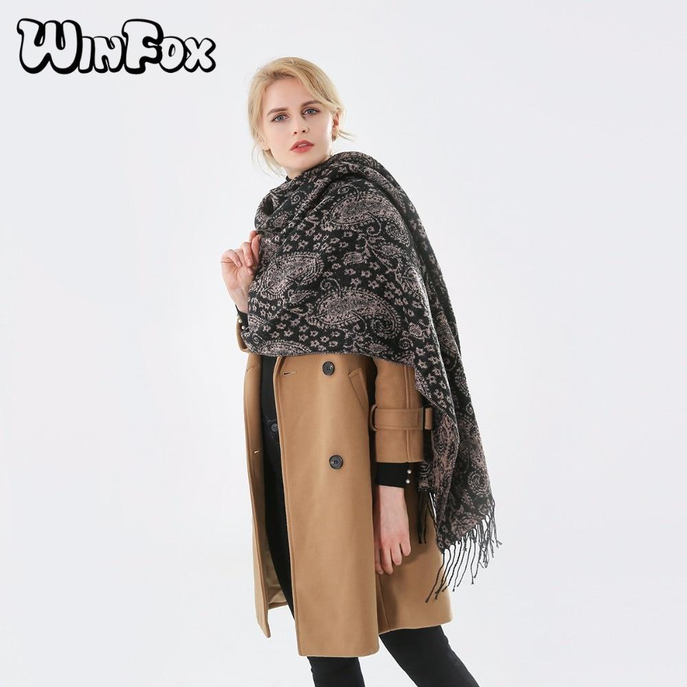 Winfox 2018 New Brand Fashion Vintage Tribe Black Paisley Tassel Jacquard   Scarf     Wraps   For Women