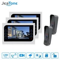 JeaTone Video Door Phone Intercom System 10 Color Touch Button Metal Panel Monitor 1200TVL IR Doorbell