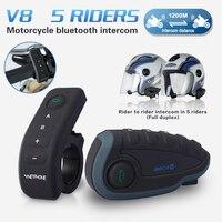5 Riders Capacete Cascos V8 Bt Intercom Nfc Motorfiets Stuur Afstandsbediening Communicator Motor Helm Bluetooth Headset