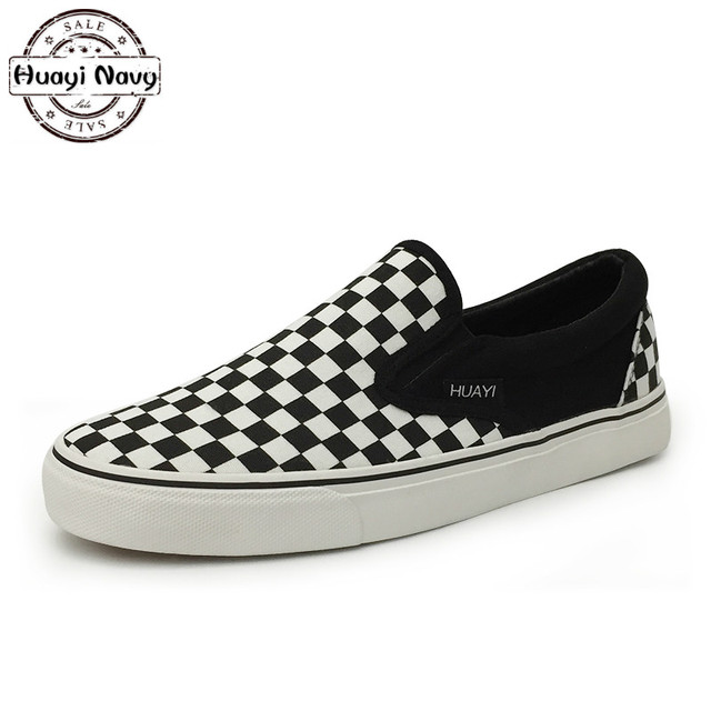 ff95531b7b09 New Men Black And White Plaid Loafers Fashion Canvas Casual Shoes High  Quality Slip On Zapatos