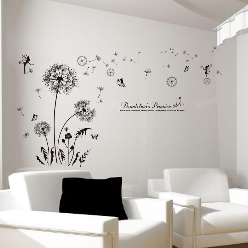 SHIJUEHEZI] Black Color Dandelions Wall Stickers PVC Material DIY ...
