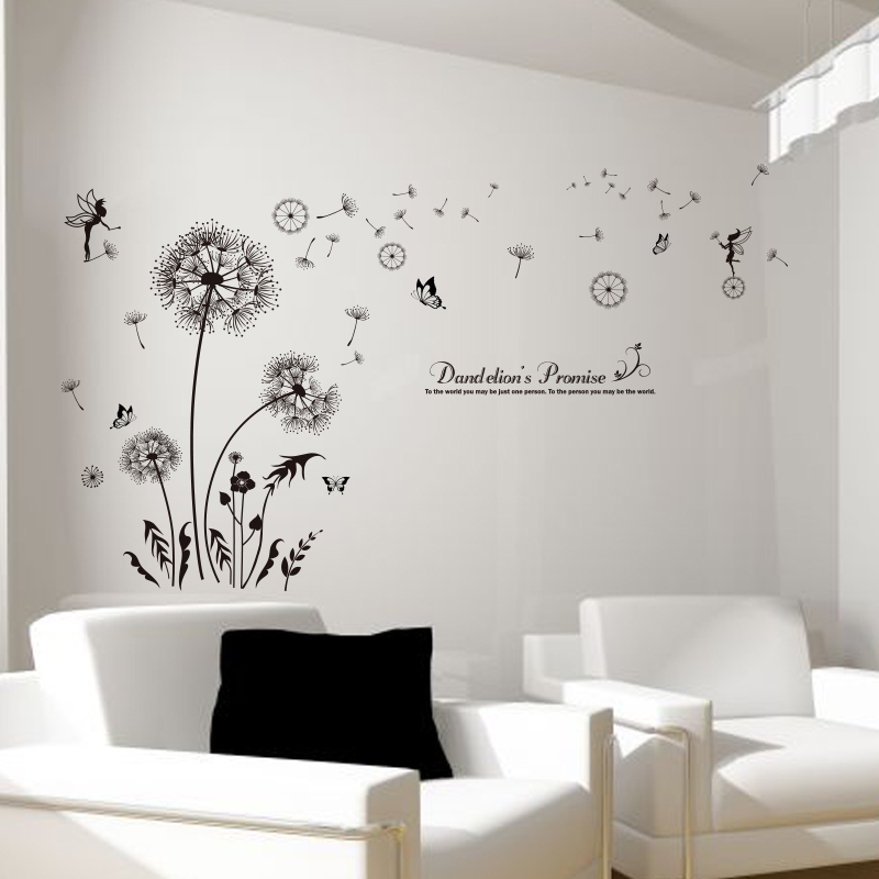 Aliexpress.com : Buy [SHIJUEHEZI] Black Color Dandelions Wall Stickers  Vinyl DIY Flower Wall Decals For Living Room Sofa Backdrop Bedroom  Decoration From ... Part 46