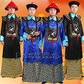 Azul Negro conjunto uniforme oficial de guardia de Palacio de la dinastía qing de china Ministro de disfraces de Halloween Cosplay ropa para Hombres con Cap