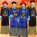 Blue Black Palace guard officer's uniform set of china qing dynasty Halloween costume Minister Cosplay clothing for Men with Cap
