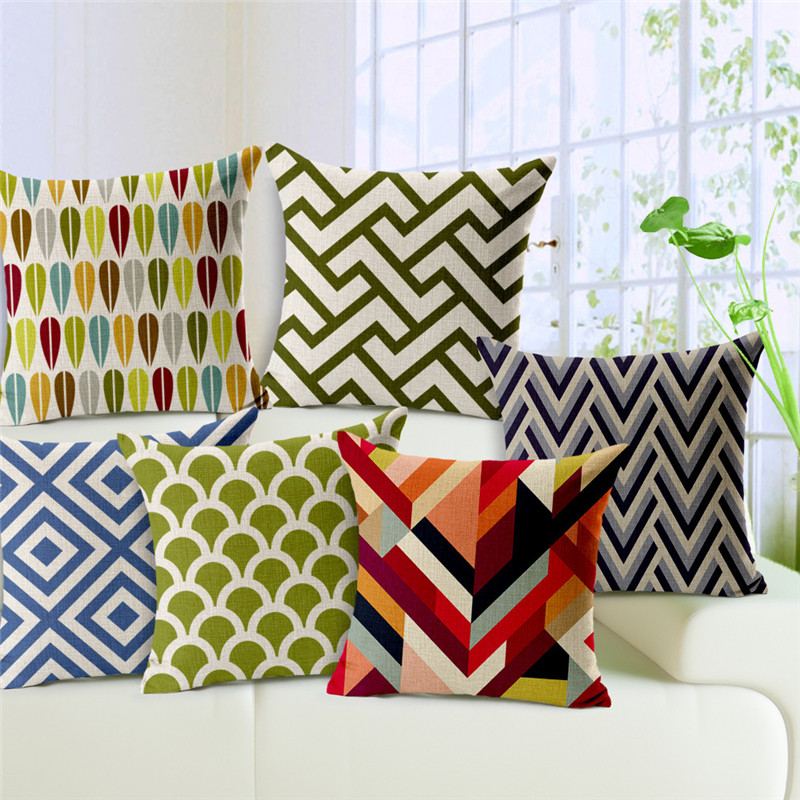 Cushion Cover Colorful Geometric Rectangle Trigonal Pillows Cases 45*45cm Baby Sofa Decoration Gift Corrugated Grid Cojin Fundas
