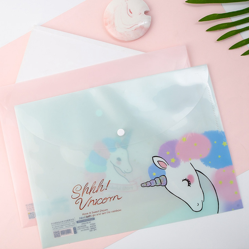 Hot Sale Unicorn Sweet Colorful Grenadine Cartoon Transparent A4 File Folder Cosmetic Bag For Girl Free Shipping Filing Products