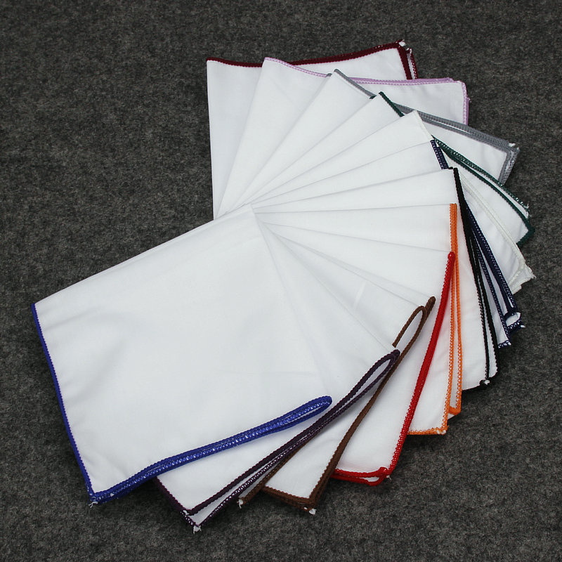 Mens Classic White Colorful Rolled Pocket Square Wedding Hanky Handkerchief YFTIE0080