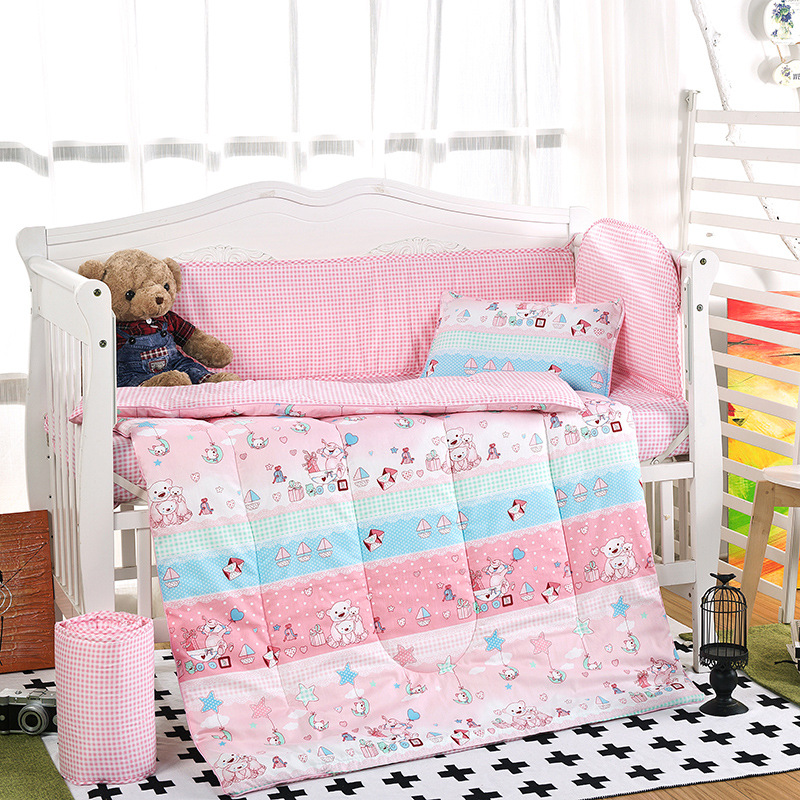 Hot Arrived crib bed set 100 cotton 6pcs baby Bedding set include pillow case bed sheet