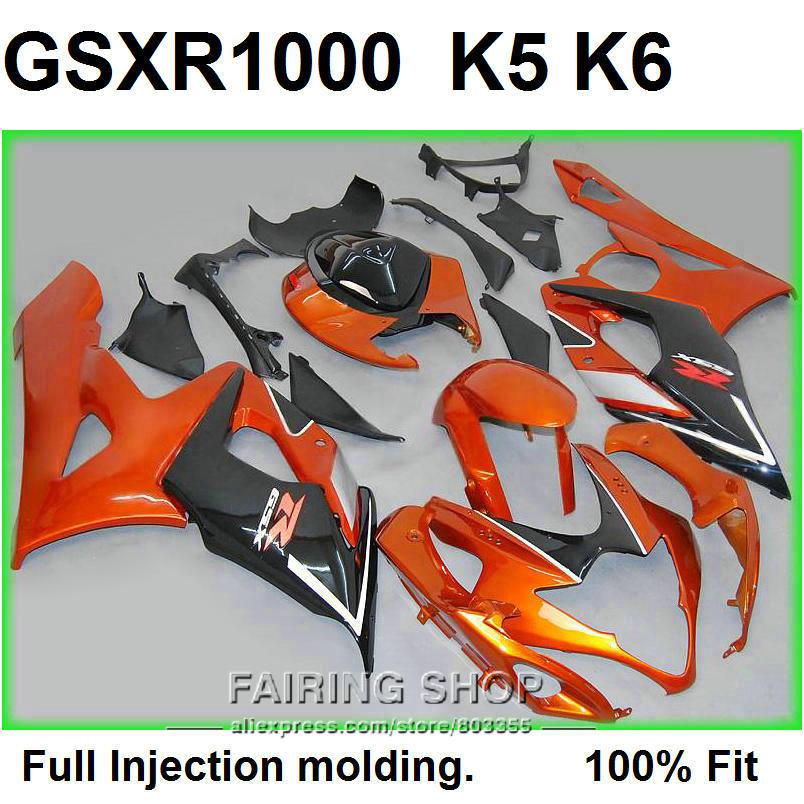 New Hot sale fairings for Suzuki injection mold GSXR1000 K5 K6 2005 2006 burnt orange black fairing kit GSXR 1000 05 06 VN91