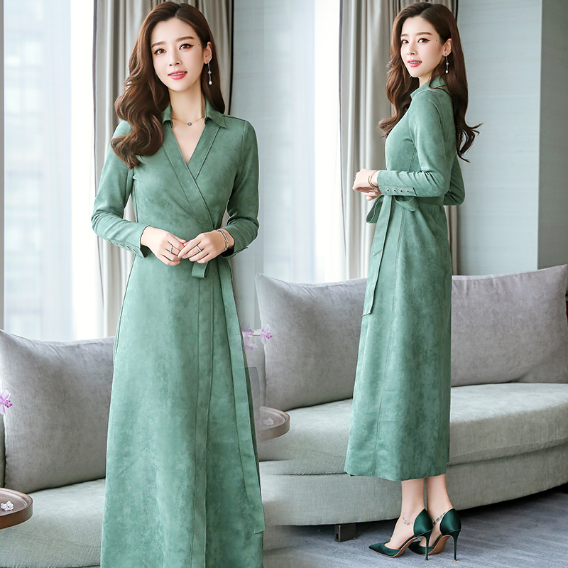 New Fashion Women Dress Spring Leisure Long Section Body Thin Over Knee 2019 Korean Version Solid Color Long Sleeve Ladies Dress in Dresses from Women 39 s Clothing