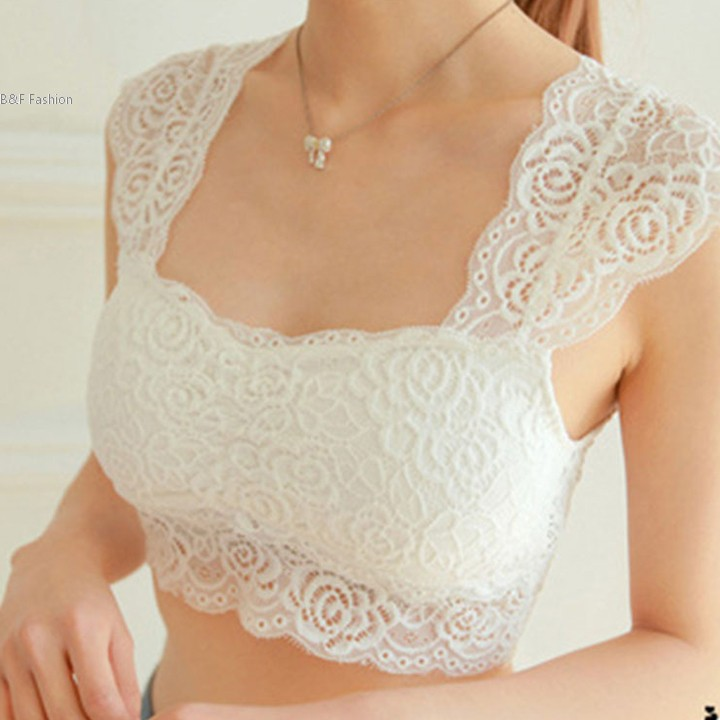 5716959a49 Fashion Sexy Lace Short Crop Top Camisole Padded Hollow-out Soft Tops for  Women Built in Bra bustier Tube Tops 36