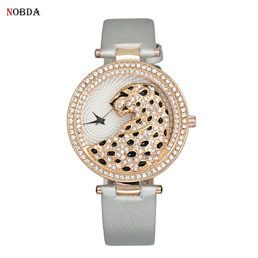 Luxury Fashion Rhinestone Crystal Womens Watch quartz leopard ladies watch 2017 new casual female clock rose gold wristwatches