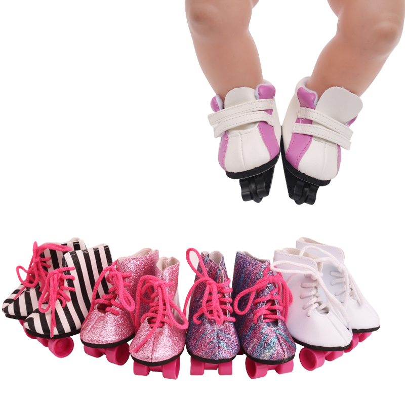 43 Cm Baby Dolls Shoes Newborn Fashion White Purple Roller Skates Pulley Shoe Baby Toys Fit American 18 Inch Girls Doll G17