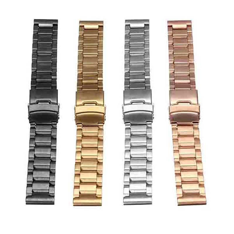 1PC 20mm Stainl ess Steel Watchbands With Double Lock Flip Best Promotion 4 Color Metal Men Women Watch Bracelet Accessories