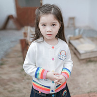 Small and medium girl's coat new Korean version of children's autumn sweater baby long sleeved rainbow Sweater