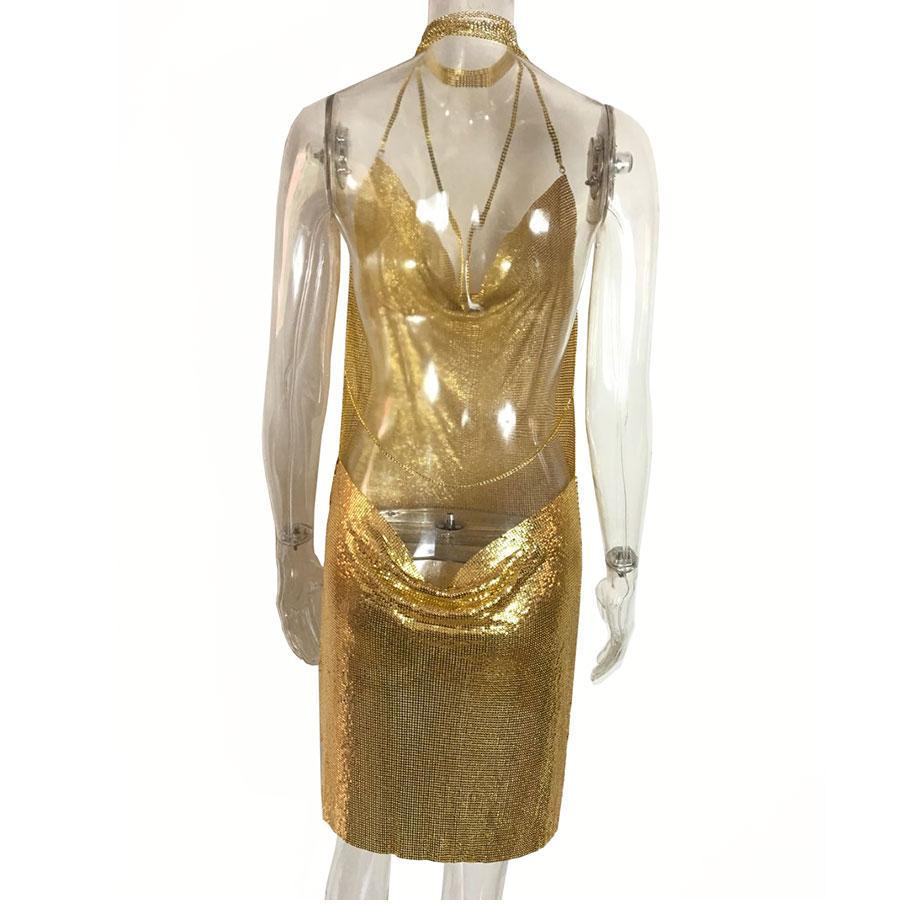 GACVGA 17 Sexy Diamond Halter Metal Party Dresses Gold Silver Summer Dress Vesitos Backless Sequins Women Dress 13
