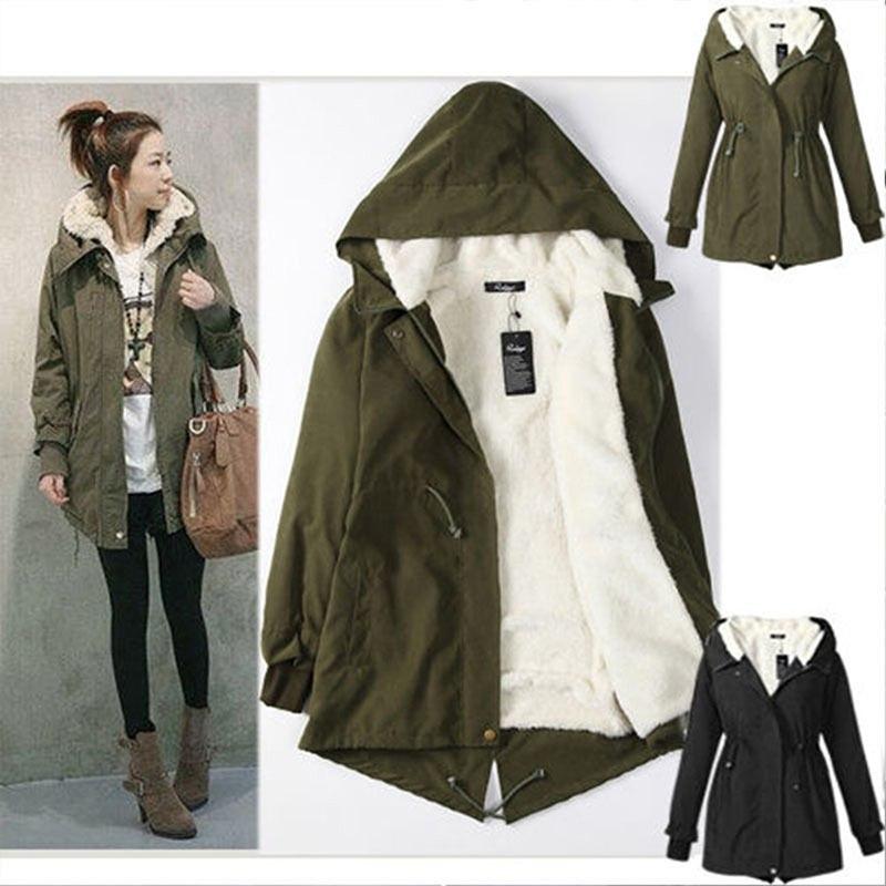 Plus Size 5XL Women Fashion Hooded   Parka   Fleece Coat Winter Warm Long Sleeve Coat Female Black Army Green Long   Parkas   Outwear