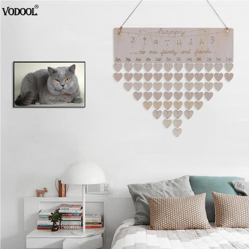 Home DIY Cute Wooden Hanging Calendar Basswood Happy Birthday Theme Board Sign Special Dates Reminder Planner Home Deco Gift цена