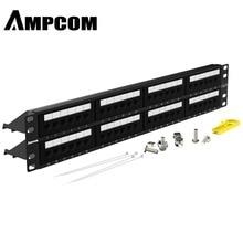 AMPCOM Premium Series CAT6 Patch Panel,15U Gold Plated, 2U 48-Port Rackmount or Wallmount Punch Down Panel