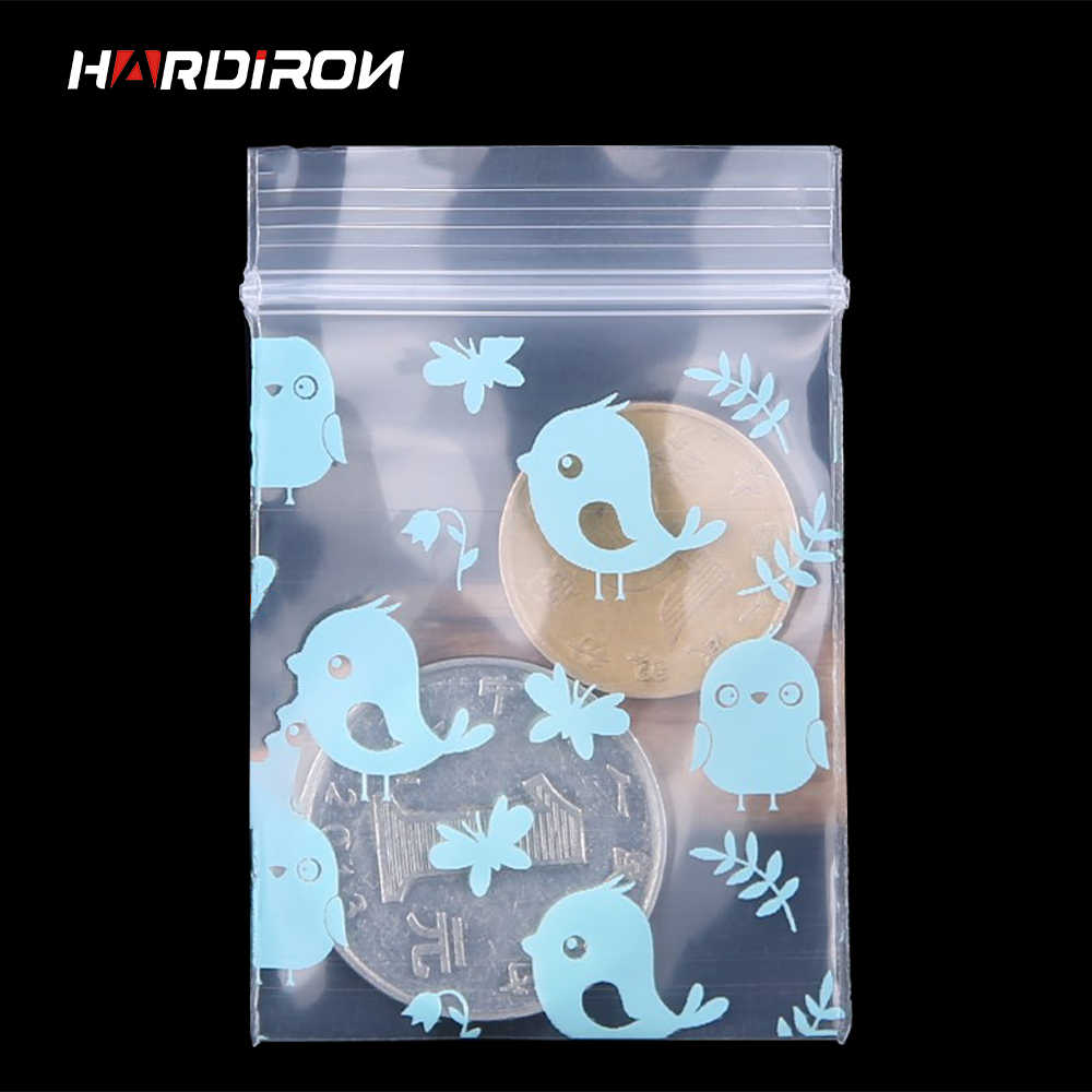 HARDIRON 500pcs Blue Bird Mini Bag Sealed Plastic Pouch Small Jewelry Antifouling Sack Transparent Self-Sealing Pocket