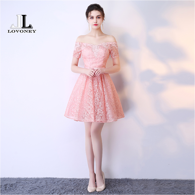 LOVONEY HS213 Sexy Mini Short   Prom     Dresses   2019 A-Line Off the Shoulder Lace-Up Cocktail Party   Dresses     Prom   Gown Real Photos