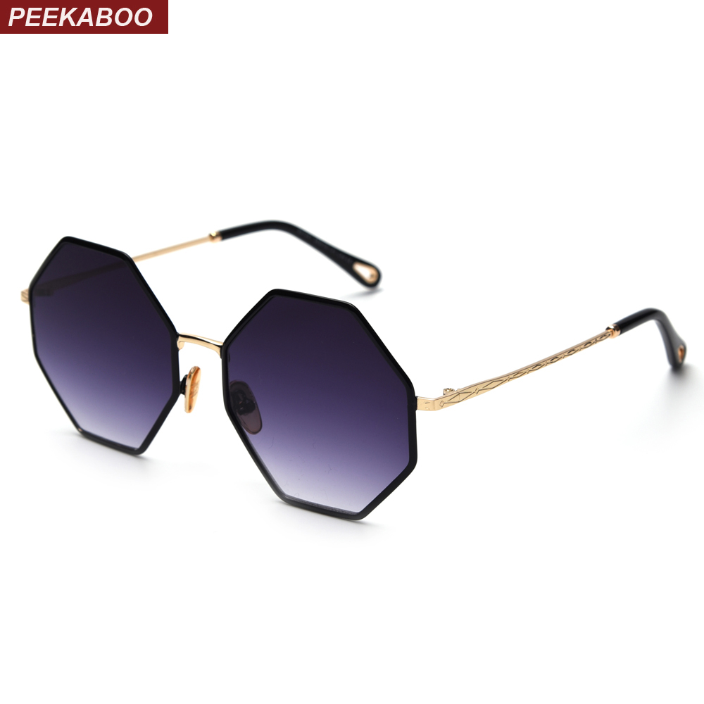 3b6a3ac0786 Peekaboo big octagon sunglasses woman trend 2019 gold black gradient  oversized sun glasses for men vintage UV400 polygon