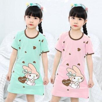 861b1404c3c5 2019 детские пижамы летние платья для маленьких девочек; хлопковая ночная  рубашка принцессы Ночная Рубашка домашняя